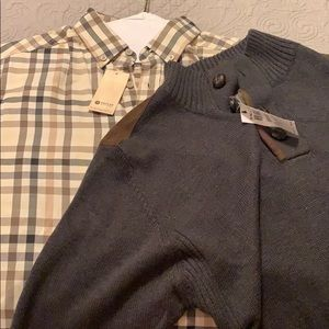 Haggar sweater with button down shirt